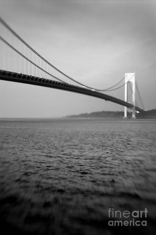 Black & White Art Print featuring the photograph Verrazano Bridge 1 by Tony Cordoza