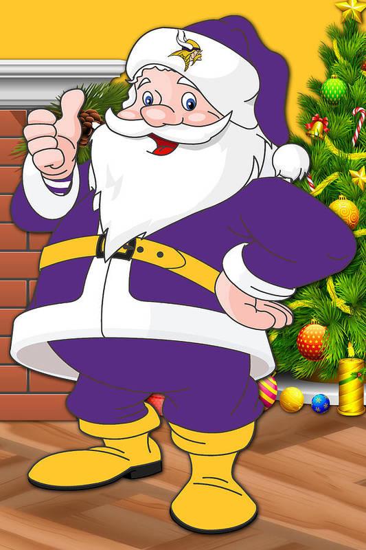 b454aad0c5bd08 Vikings Art Print featuring the photograph Vikings Santa Claus by Joe  Hamilton