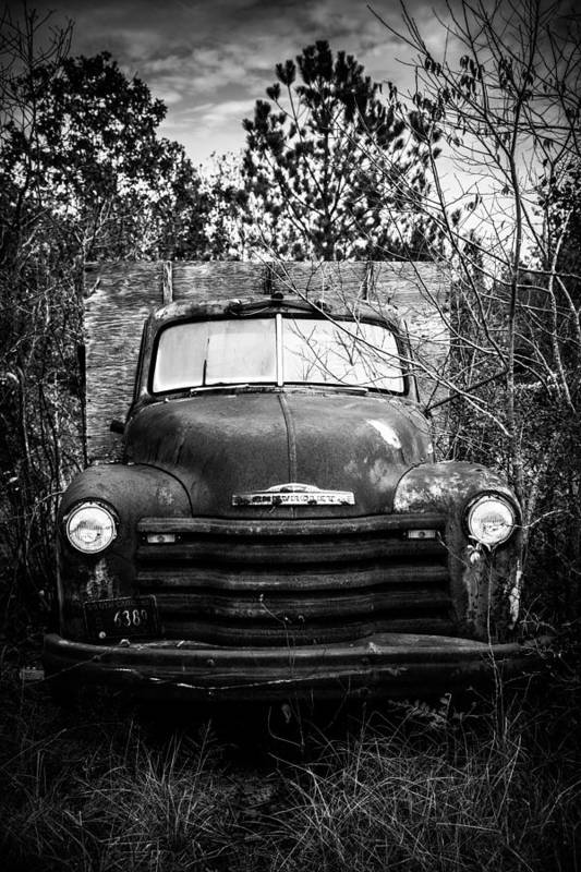Black And White Art Print featuring the photograph Vintage Chevy Farm Truck by Alicia Collins