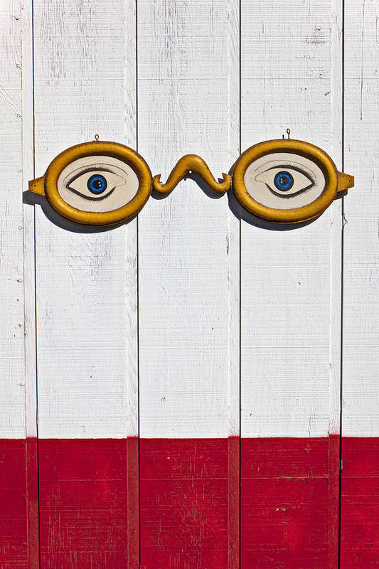 Eye Sign Glasses Wall Antique Art Print featuring the photograph Vintage Eye Sign On Wooden Wall by Garry Gay