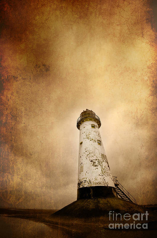 Aged Art Print featuring the photograph Vintage Lighthouse by Meirion Matthias