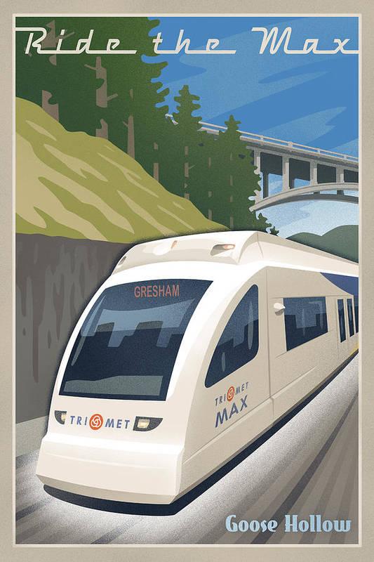 Street Art Print featuring the digital art Vintage Max Light Rail Travel Poster by Mitch Frey