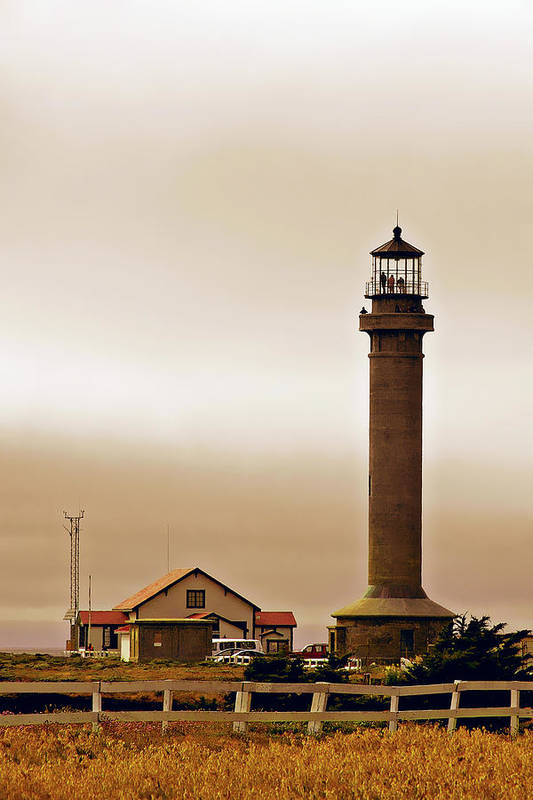 Point Arena Lighthouse Print featuring the photograph Wacky Weather At Point Arena Lighthouse - California by Christine Till
