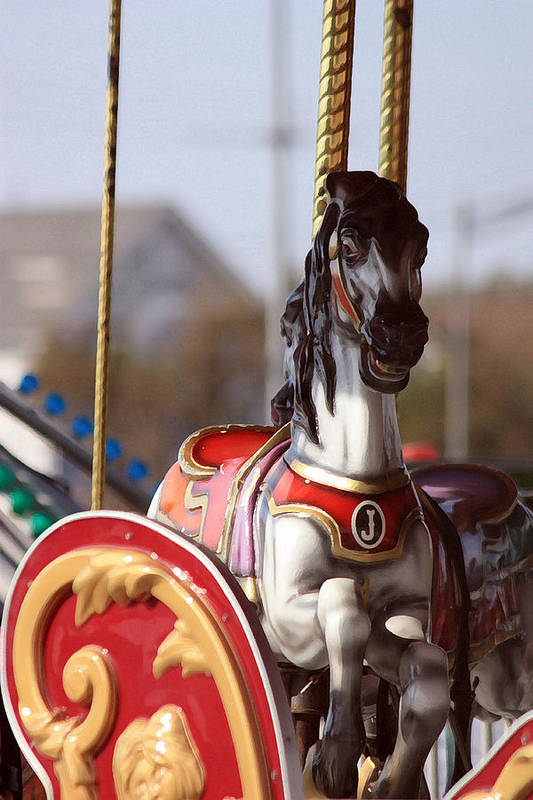 Carousel Art Print featuring the photograph Waiting For A Rider by Mary Haber