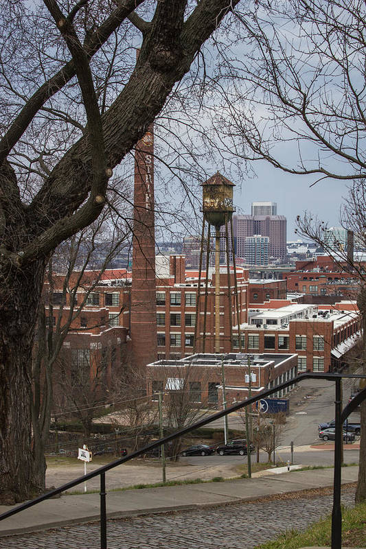 Water Tower Art Print featuring the photograph Warehouses by Judy Smith
