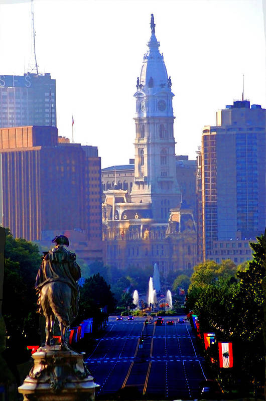 Philadelphia Print featuring the photograph Washington Looking Over To City Hall by Bill Cannon