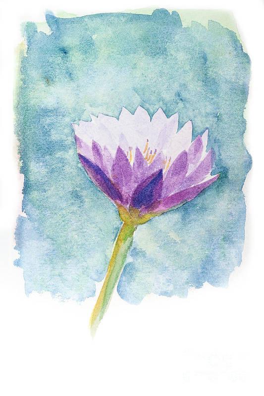 Flower Art Print featuring the painting Watercolor Of Lotus Flower. by Noppanun Kunjai