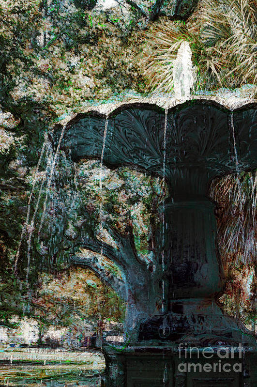 Water Fountain Art Print featuring the photograph Waterfountain In Charleston Park by Donna Bentley