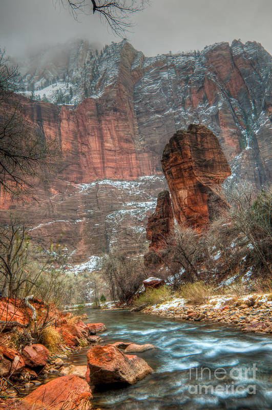 Hdr Print featuring the photograph Waters Rushing At The Temple Of Sinawava by Irene Abdou