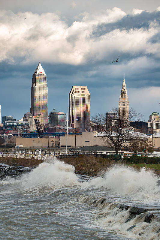 Waves Art Print featuring the photograph Waves On Cleveland by Brad Hartig - BTH Photography