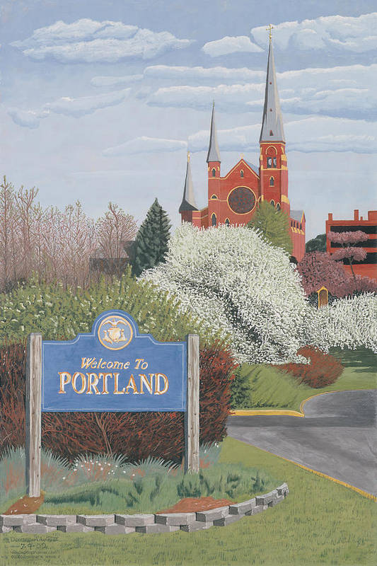 Church Art Print featuring the painting Welcome To Portland by Dominic White