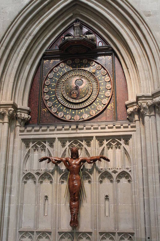 Clock Art Print featuring the photograph Wells Cathedral Geocentric Clock by Lauri Novak