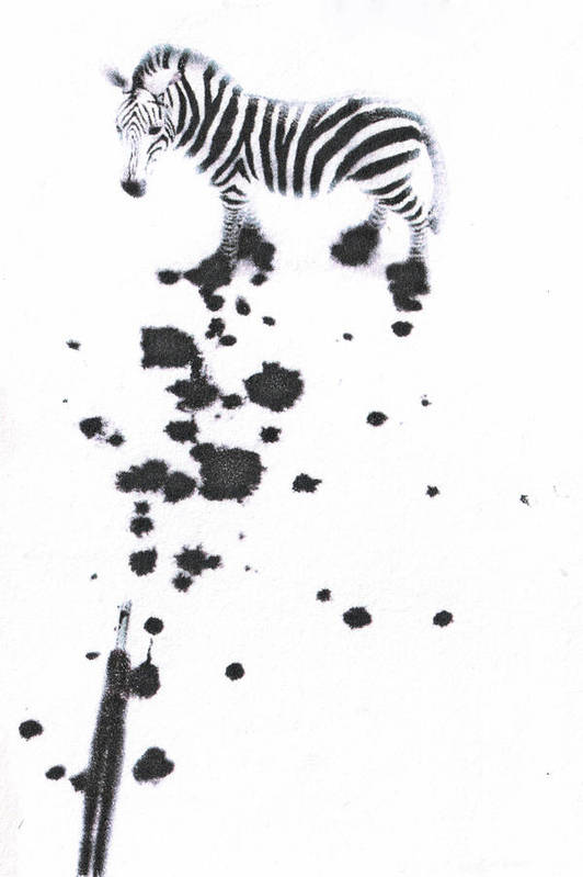 Zebra Art Print featuring the mixed media What Are You by Kimberly Lavon