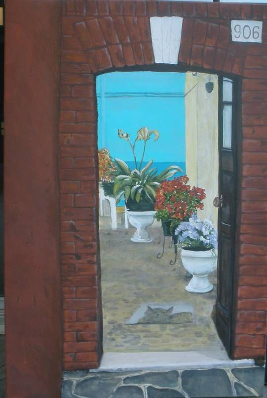 Doorway Art Print featuring the painting What Is Inside... by Betty-Anne McDonald