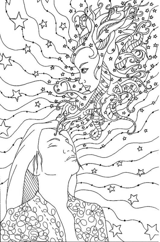Adult Colouring Art Print featuring the drawing When You Wish Upon A Star by Kate Evans
