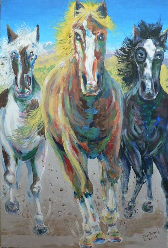 Three Art Print featuring the painting Wild And Free by Dan Bozich
