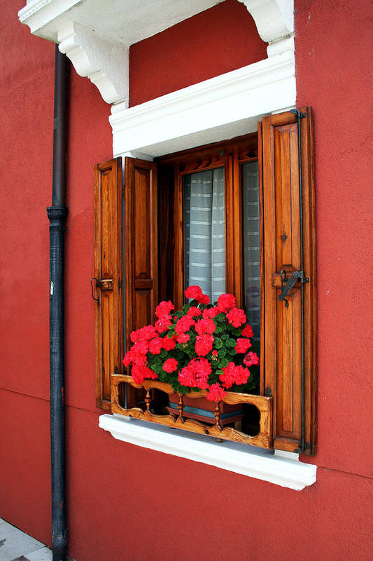 Red Art Print featuring the photograph Window On Burano by Nathaniel Dickert