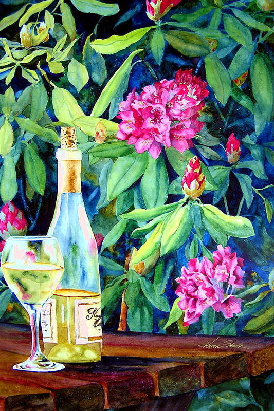 Rhododendron Art Print featuring the painting Wine And Rhodies by Karen Stark