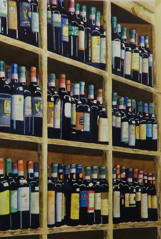 Wine Art Print featuring the painting Wine Closet by Terry Honstead