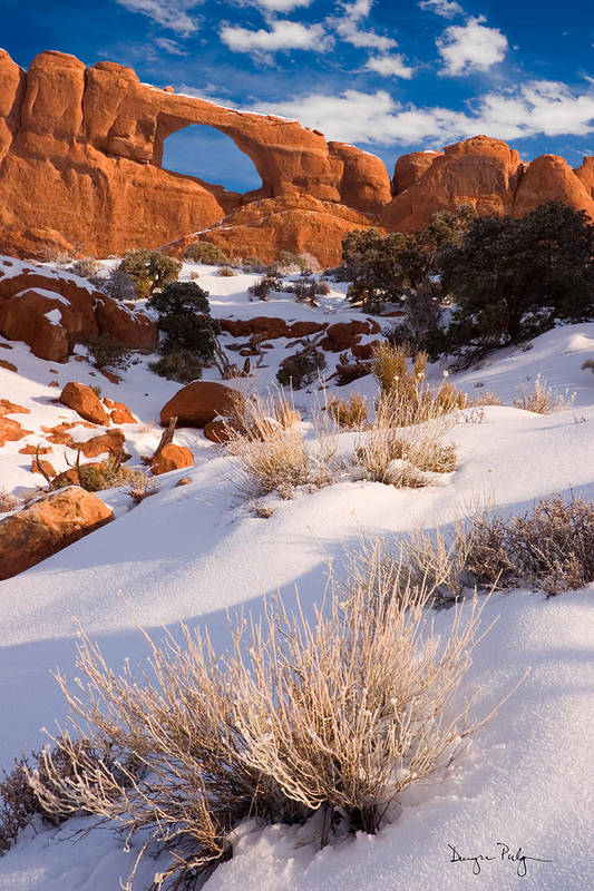 Skyline Arch Art Print featuring the photograph Winter Morning At Arches National Park by Utah Images