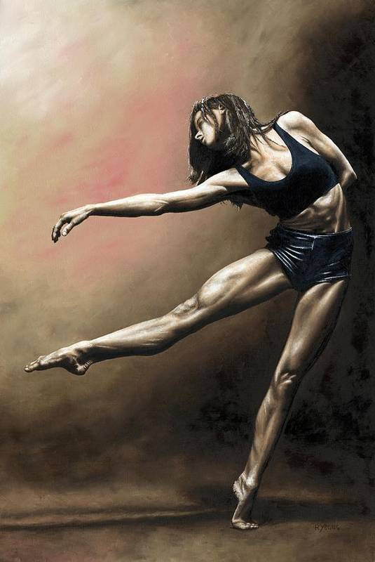 Dancer Print featuring the painting With Strength And Grace by Richard Young