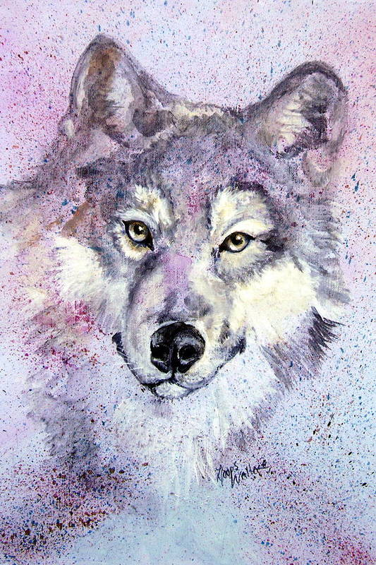 Leslie Art Print featuring the painting Wolf Splatter by Leslie Hoops-Wallace