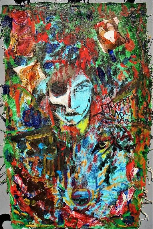 #mixedmedia #oncloth #canvas #bluefaerytale #omertamoll #wolf #alteregos #totems #spiritguides #summerlands Art Print featuring the mixed media Wolfey Me by Teresa Omerta Moll-Arruza
