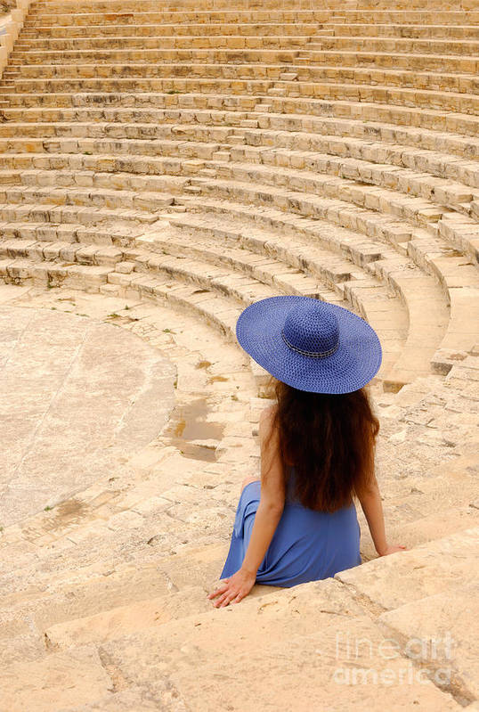 Cyprus Art Print featuring the photograph Woman At Greco-roman Theatre At Kourion Archaeological Site In C by Oleksiy Maksymenko