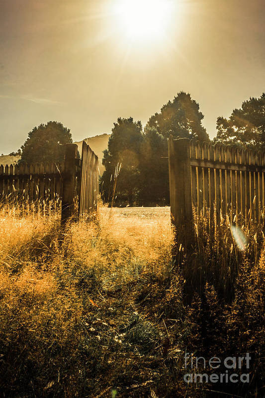 Shabby Art Print featuring the photograph Wooden Fence With An Open Gate by Jorgo Photography - Wall Art Gallery