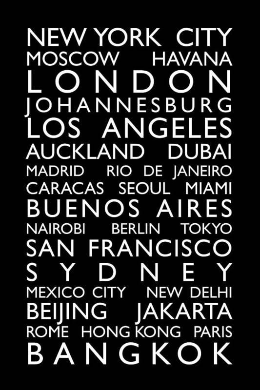 World Map Art Print featuring the digital art World Cities Bus Roll by Michael Tompsett