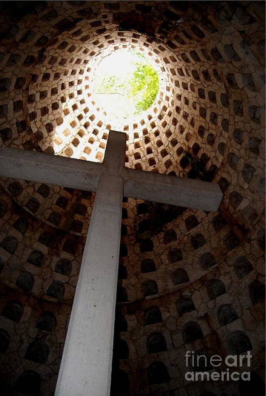Cross Art Print featuring the photograph Xcaret Cemetery Catacomb by Angela Murray