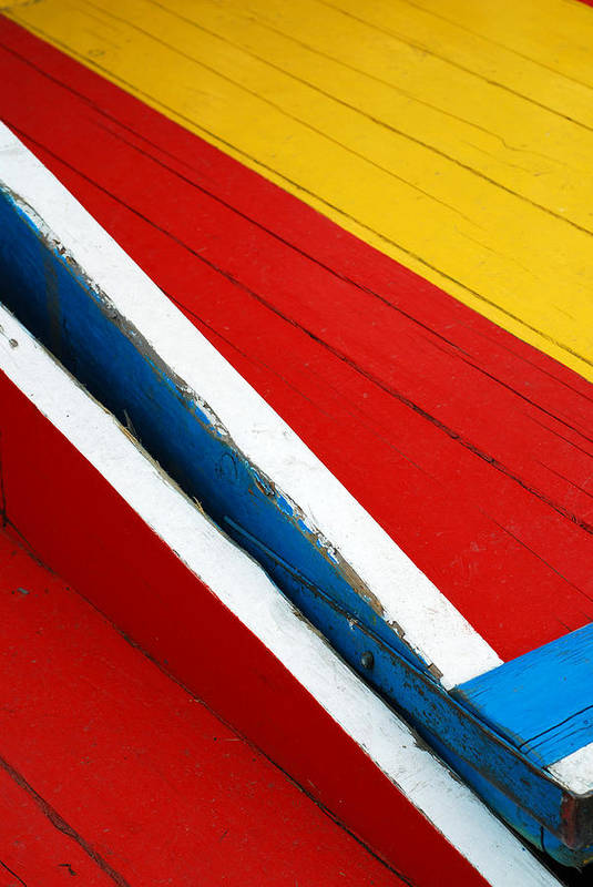 Red Art Print featuring the photograph Xochimilco Boat Abstract 1 by Skip Hunt