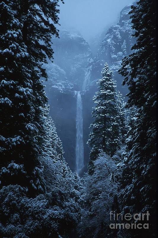 California Art Print featuring the photograph Yosemite Falls In January by Stan and Anne Foster