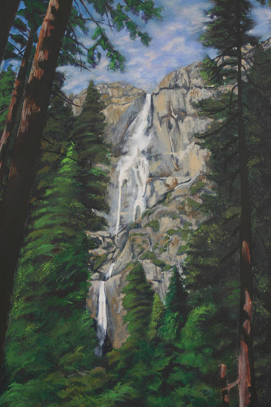 Landscape Art Print featuring the painting Yosemite Falls by Travis Day