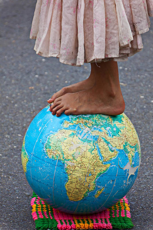 Foot Art Print featuring the photograph Young Woman Standing On Globe by Garry Gay