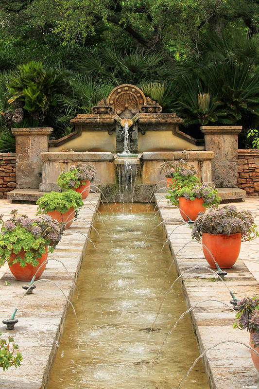 San Antonio Botanical Gardens Art Print featuring the photograph Zen Water Feature Waterfall by Sarah Broadmeadow-Thomas