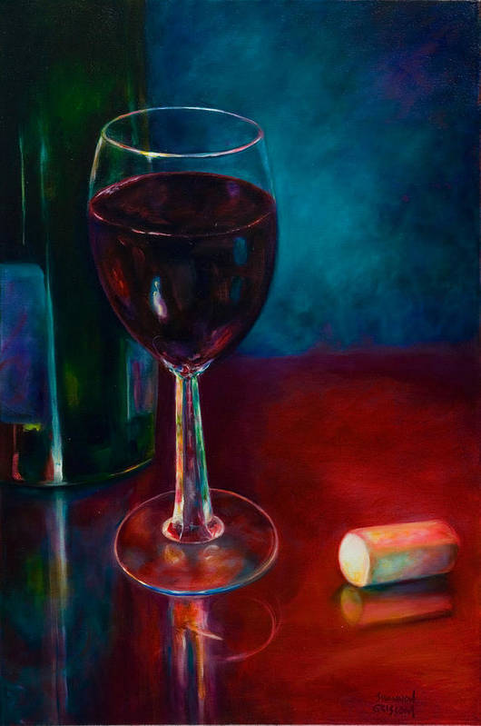 Wine Bottle Art Print featuring the painting Zinfandel by Shannon Grissom
