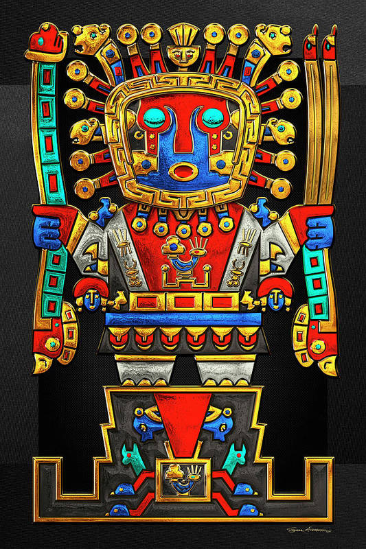 'treasures Of Pre-columbian America' Collection By Serge Averbukh Art Print featuring the photograph Incan Gods - The Great Creator Viracocha On Black Canvas by Serge Averbukh