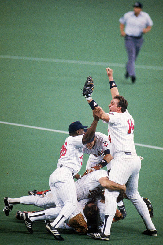 Hubert H. Humphrey Metrodome Art Print featuring the photograph 1987 World Series St. Louis Cardinals by Mlb Photos