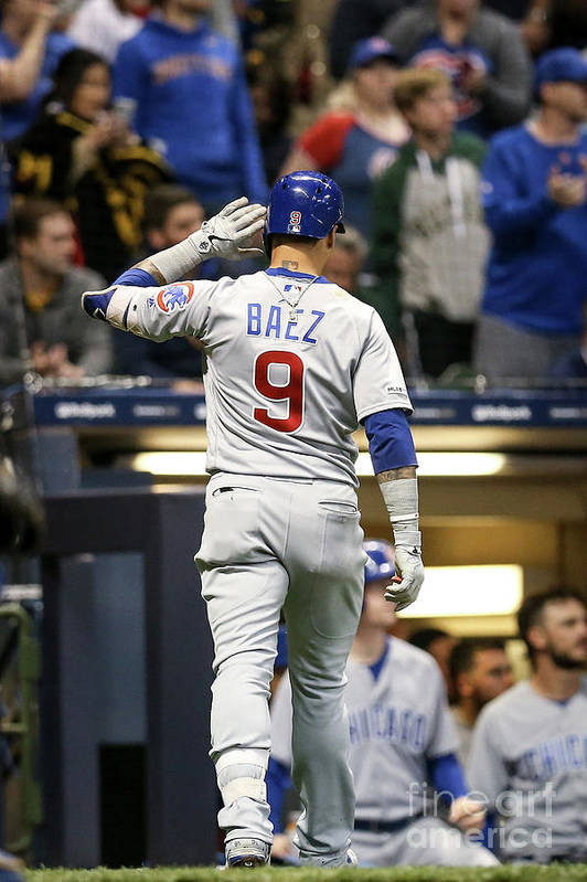People Art Print featuring the photograph Chicago Cubs V Milwaukee Brewers by Dylan Buell