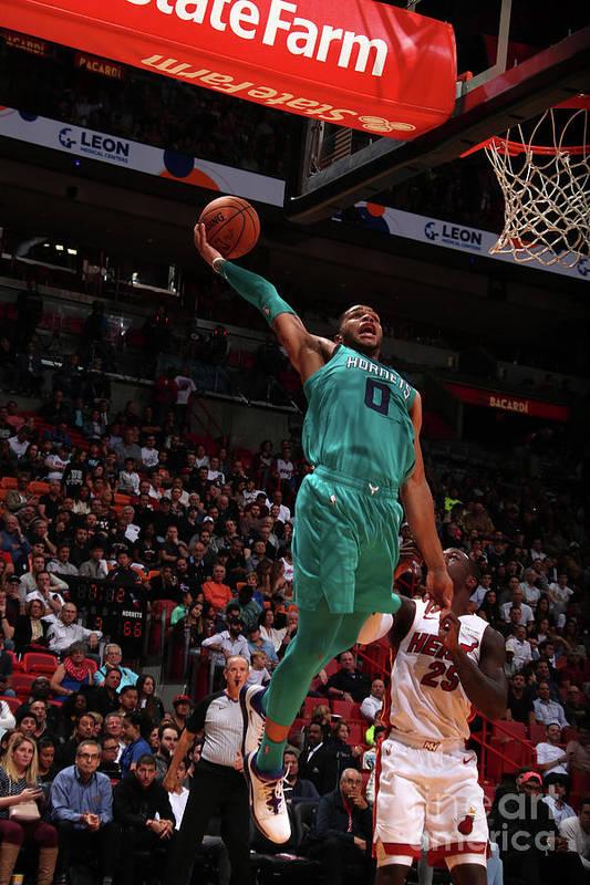 Nba Pro Basketball Art Print featuring the photograph Charlotte Hornets V Miami Heat by Issac Baldizon
