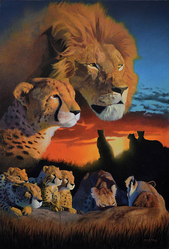Surealism Art Print featuring the painting African Cats by Stanislav Atanasov