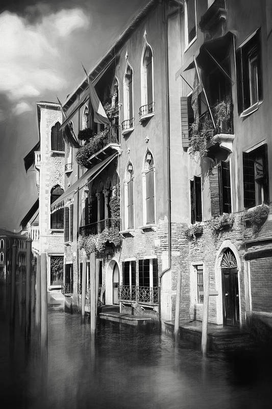 Venice Art Print featuring the photograph Architecture Of The Grand Canal Venice Italy Black And White by Carol Japp