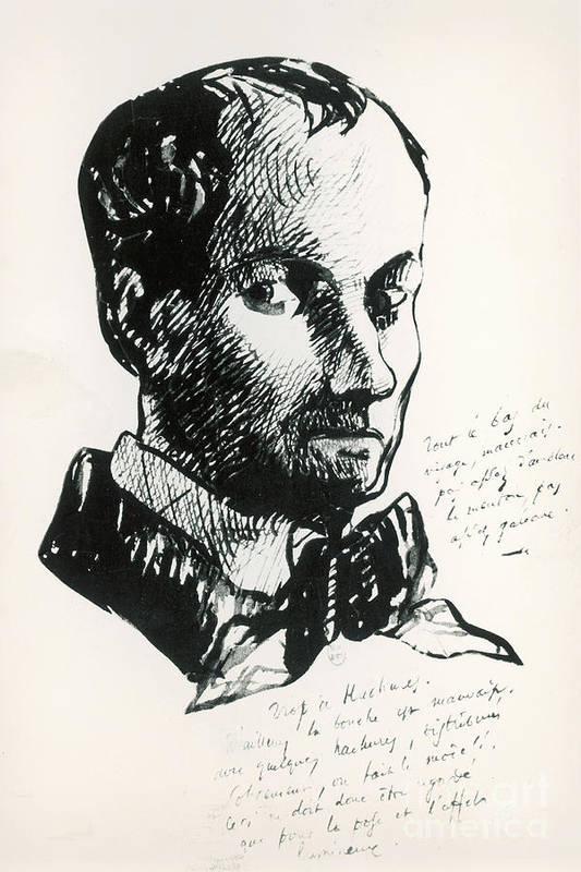 Self-portrait Art Print featuring the drawing Baudelaire Self-portrait by Charles Baudelaire