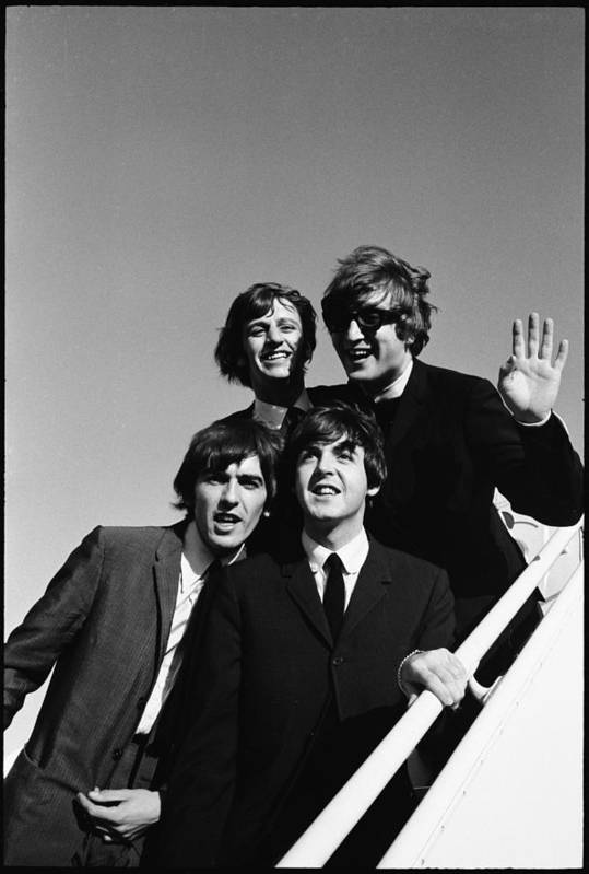 People Art Print featuring the photograph Beatles Arriving At Los Angeles Airport by Bill Ray