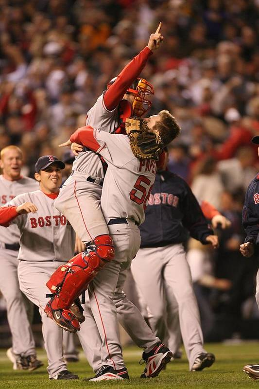 Celebration Art Print featuring the photograph Boston Red Sox V Colorado Rockies by Brad Mangin