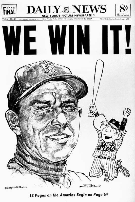 American League Baseball Art Print featuring the photograph Daily News. Front Page. Headline, We by New York Daily News Archive