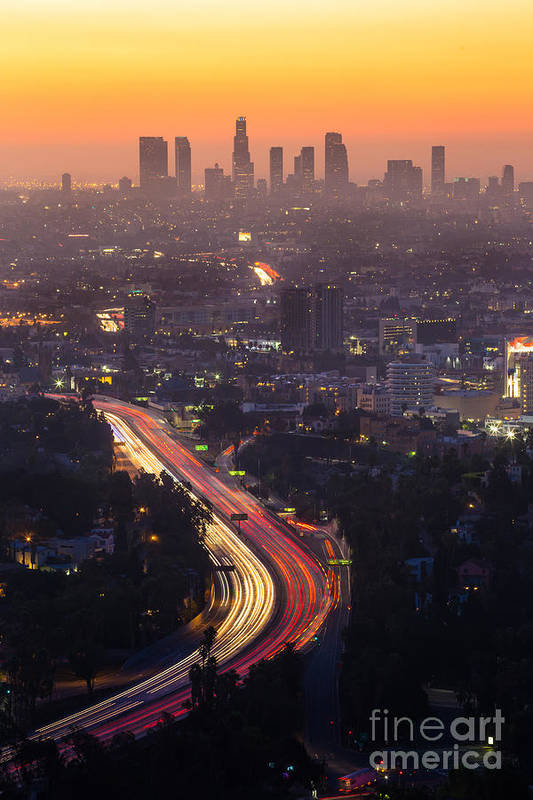 Freeway Art Print featuring the photograph Downtown Los Angeles Skyline At by F11photo