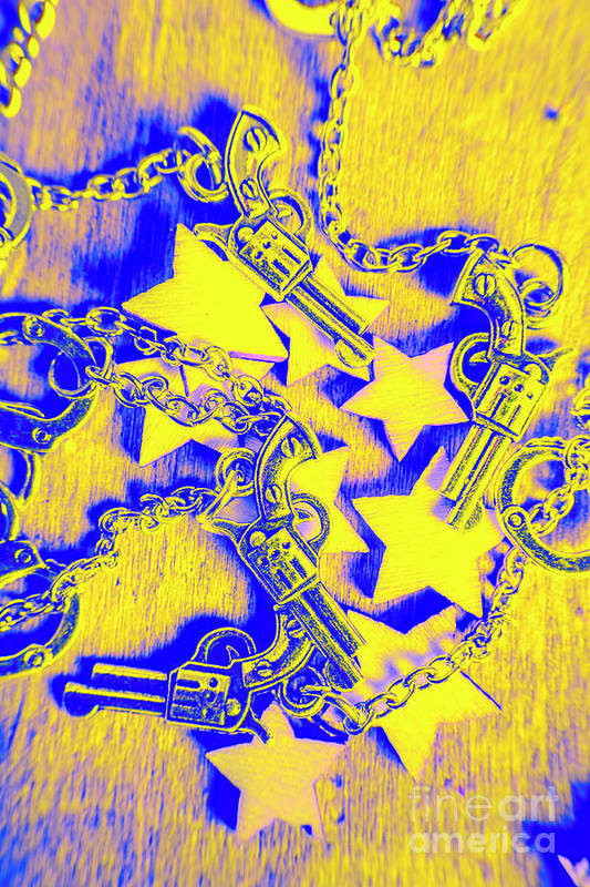 Sheriff Art Print featuring the photograph Handguns, Chains And Handcuffs by Jorgo Photography - Wall Art Gallery