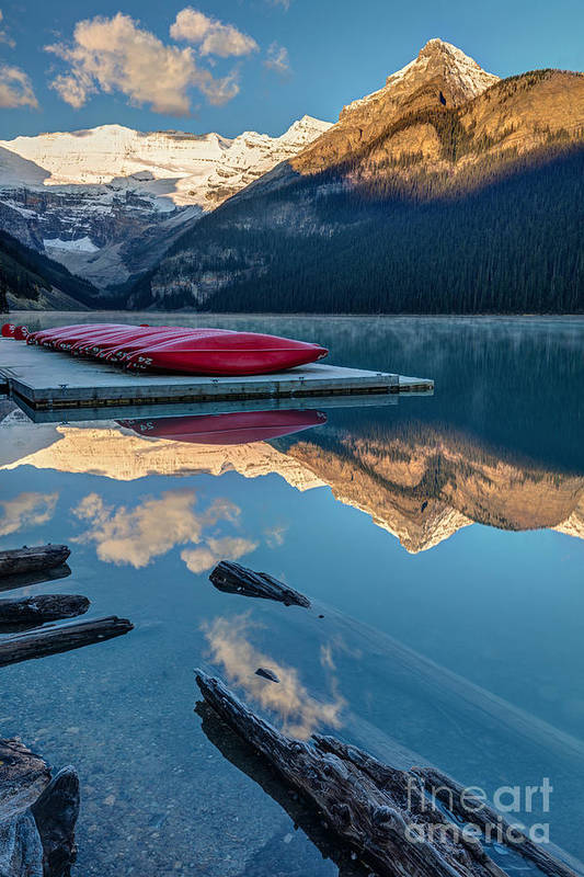 Glaciers Art Print featuring the photograph Lake Louise Canoes In Banff National by Pierre Leclerc
